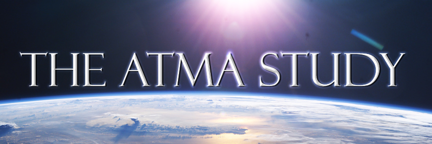 Photo of Earth from space by NASA and ATMA Study header graphic of Movie Title over the Earth backlite by the sun