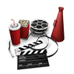 graphic of pop corn, bull horn, movie reel, soda pop glass, clapper board to represent the movie fan package ... purchased from © Kirsty Pargeter - Fotolia.com