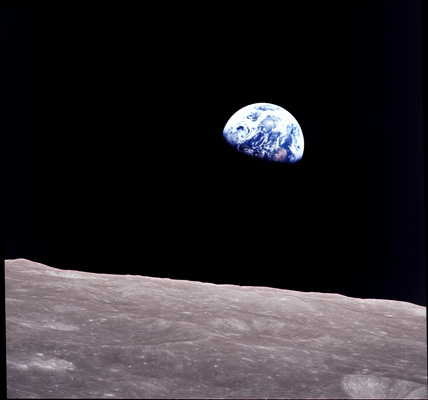 NASA photo of earth rise seen from then moon taken from Apollo 8 mission to moon