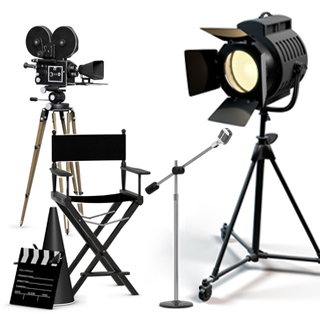 graphic of camera and other film equipment to represent the Movie Professional Package ... purchased from James Steidl - Fotolia.com